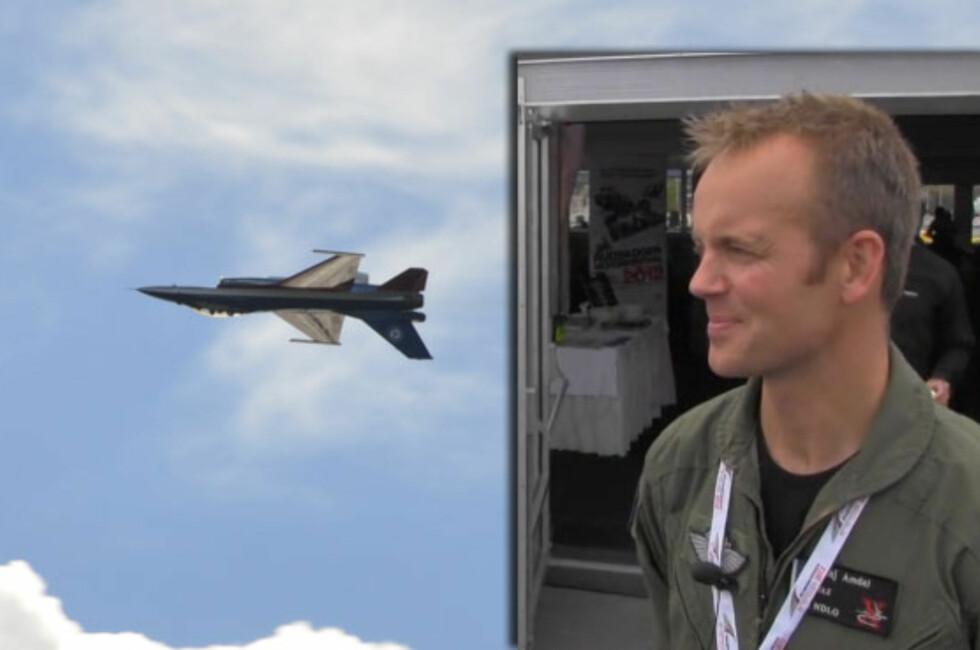 Her flyr F-16-pilot Eskil Amdal (innfelt bilde) opp ned. Foto: Autofil