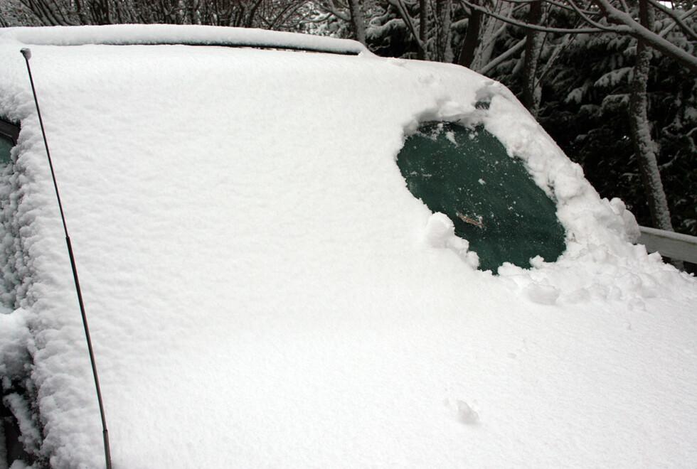 Som du sikkert skjønner, er det ikke lov å kjøre med såpass dårlig sikt. Likevel gjør mange nordmenn nettopp dette hver vinter. Foto: Knut Moberg