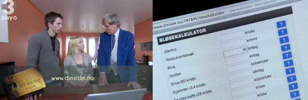 Også økonomirådgiverne i TV3s Luksusfellen, har benyttet DinSides sløsekalkulator for å illustrere deltakernes forbruk. Her er det Christian Vennerød som hjelper Christer Skjæran. Foto: TV3