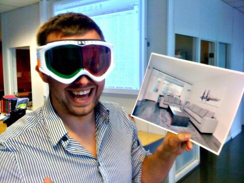 Tommy Friestad i boa eiendomsmegling har jobbet lenge med å få annonser til å skille seg ut. Her med en 3Dannonse for en bolig i Slalåmveien, med tilhørende 3D-slalåmbriller. Dette prosjektet ga dem tittelen Årets Gullmegler.  Foto: boa