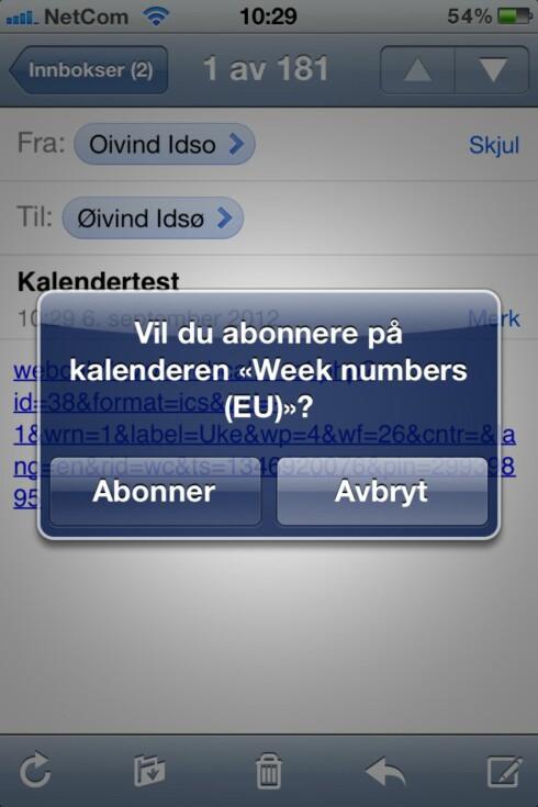 JA, DET VIL DU: Ihvertfall hvis du har lyst på ukenummer i iPhone-kalenderen.