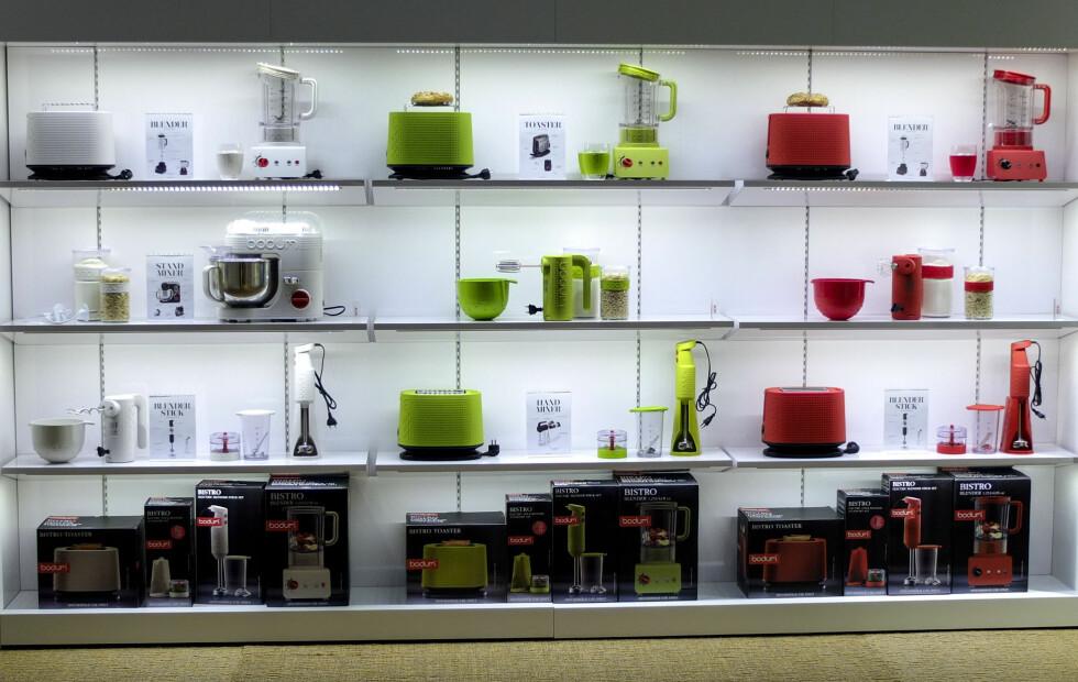 Bodum: Nå mer enn bare presskanner: Bistro-serien med hjemmeelektronikk har brødrister, blender, miksmaster, kjøkkenmaskin, vannkoker og kaffetrakter. Foto: Per Ervland