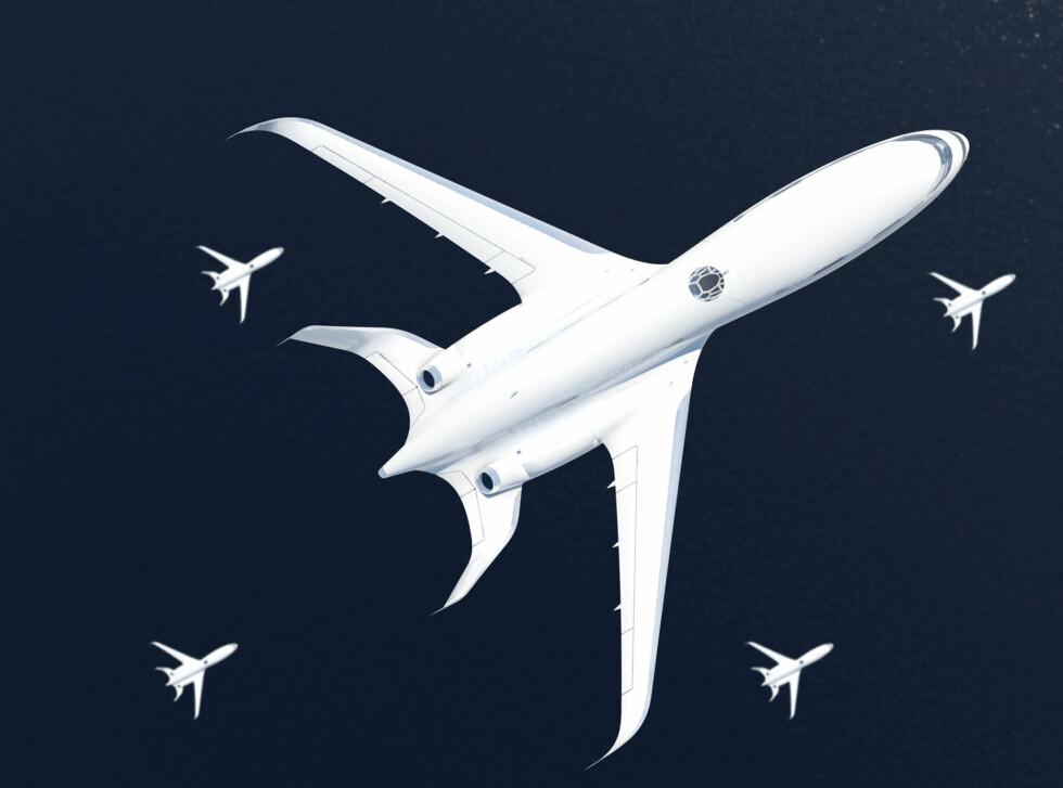 Flyene flyr i formasjon, noe som kan spare drivstoff. Foto: Airbus