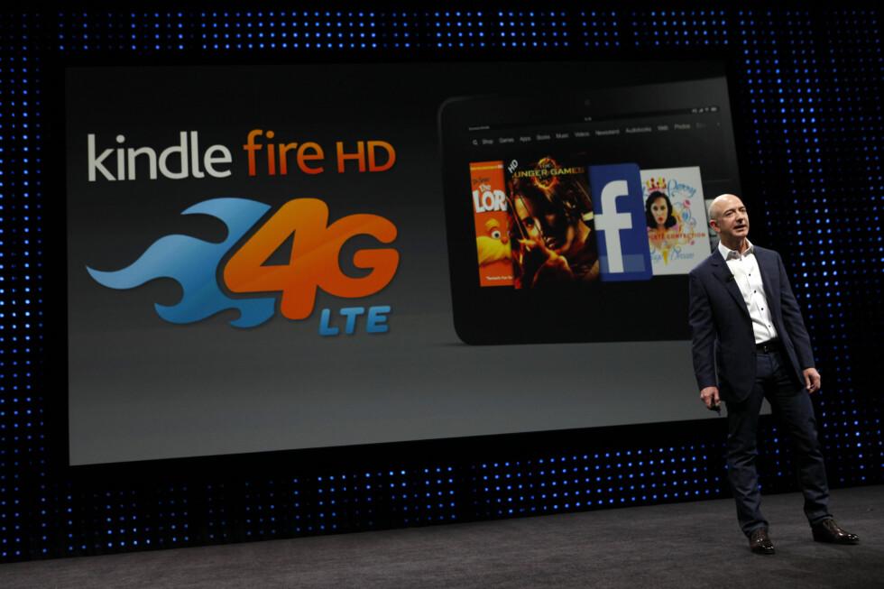 Amazon-sjef Jeff Bezos presenterte nye Kindle-modeller i går kveld norsk tid. Foto: Patrick Fallon/Bloomberg/All over press