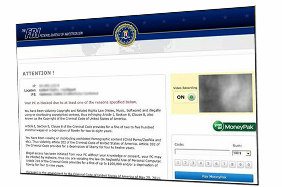 Slik skal meldingen som popper opp på datamaskinen din, se ut. Til forveksling lik nettsiden til FBI.