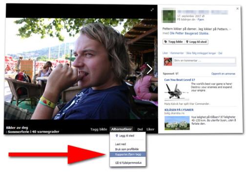 ENKELT: Å fjerne en tag fra et bilde eller innlegg på Facebook handler bare om å finne den riktige menyen.  Foto: Ole Petter Baugerød Stokke