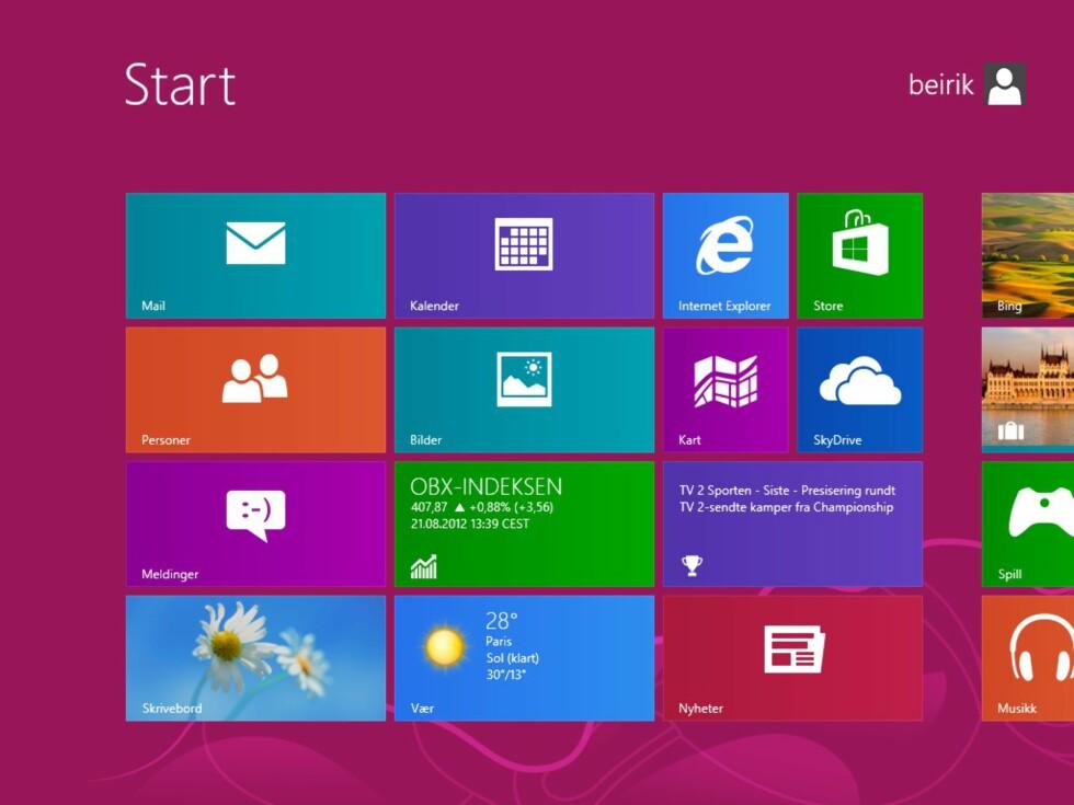 Startskjermen, slik vi kjenner den fra Windows 8. Nå kan du enkelt hoppe forbi den og gå rett til skrivebordet når du logger inn.