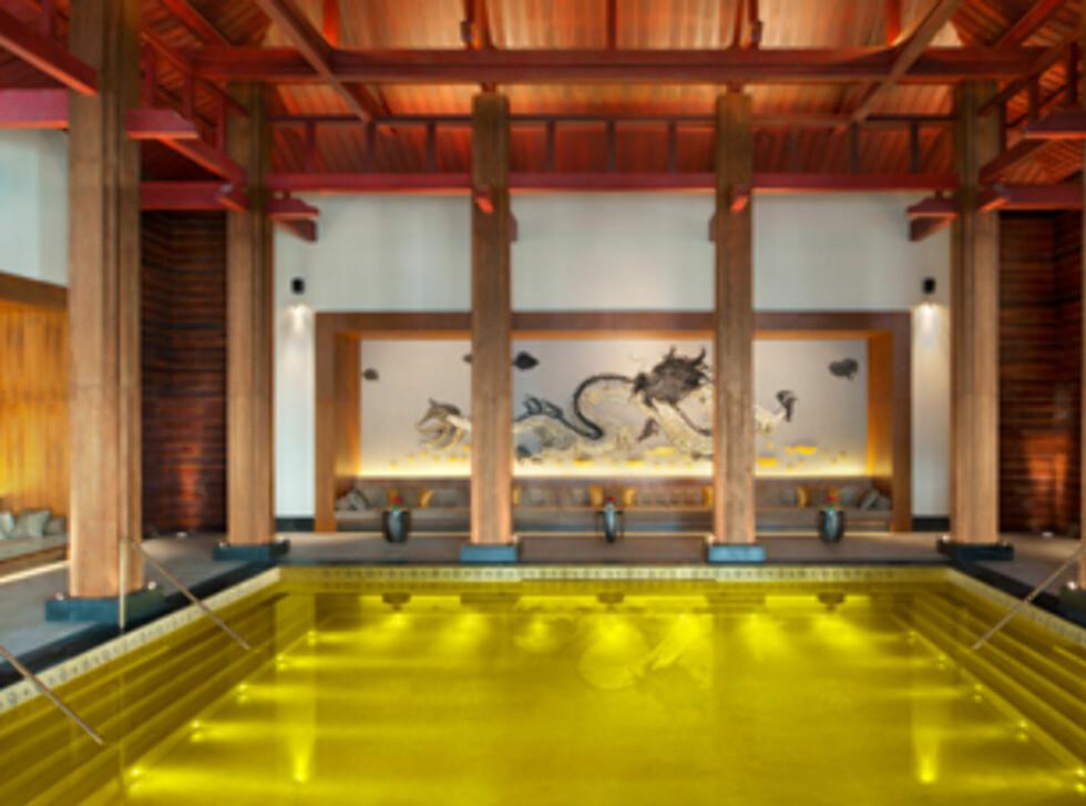 Bassenget som er gullbelagt og designet for åndelig velvære. Foto: St. Regis Lhasa Hotels