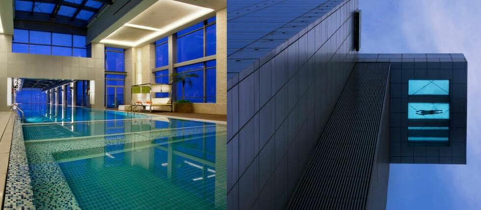 Er dette det mest skremmende svømmebassenget du har sett? Ikke fra innsiden, men sjekk hva som skjer om du svømmer helt til enden ... Foto: Holiday Inn Shanghai Pudong Kangqiao