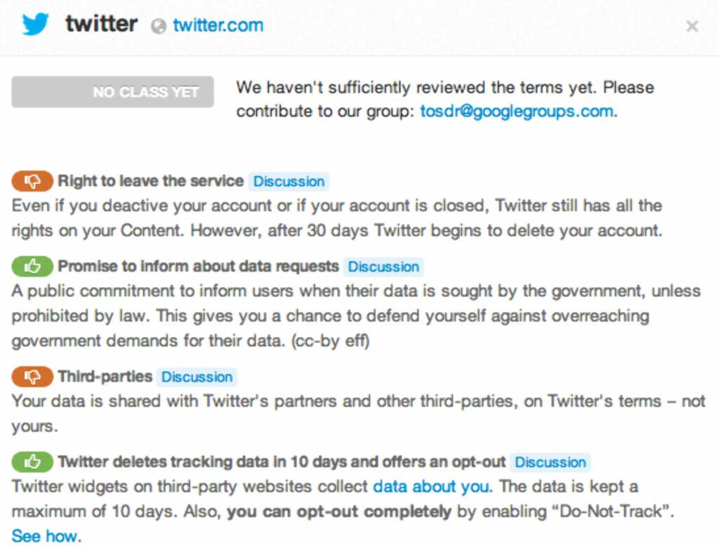 image: Viser bruksvilkårene på en rekke nettjenester