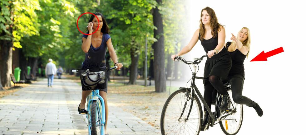 <strong><b>FORBUDT PÅ SYKKEL:</strong></b> Danskene er et syklende folk, med dertil hørende sykkelregler. Blir du tatt for å snakke i håndholdt mobiltelefon mens du sykler, koster det deg 1.000 danske kroner. Er dere to personer på en vanlig sykkel, blir det 700 danske kroner i bot til begge to! Foto: PantherMedia/Radu Razvan, Montasje: Per Ervland