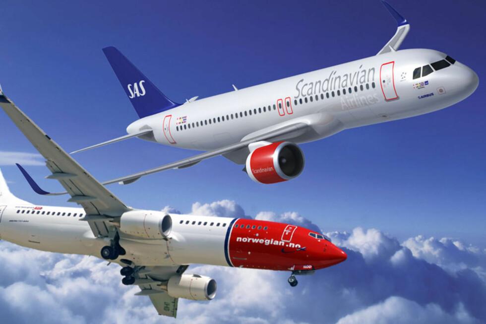 Både SAS og Norwegian er opptatt av at de nye flyene skal skjerme miljøet. Her ser du SAS' A320 og Norwegians 737-800. Foto: Ole Petter Baugerød Stokke/SAS/Norwegian