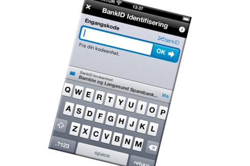 iOS-LØSNING: BankID-appen skal bli redningen på iPhone og iPad, og snart kommer Android-versjonen også. Problemet er bare at nettbutikkene og bankene må følge etter, og at dette er løsninger som kun fungerer på de bestemte plattformene.  Foto: BankID