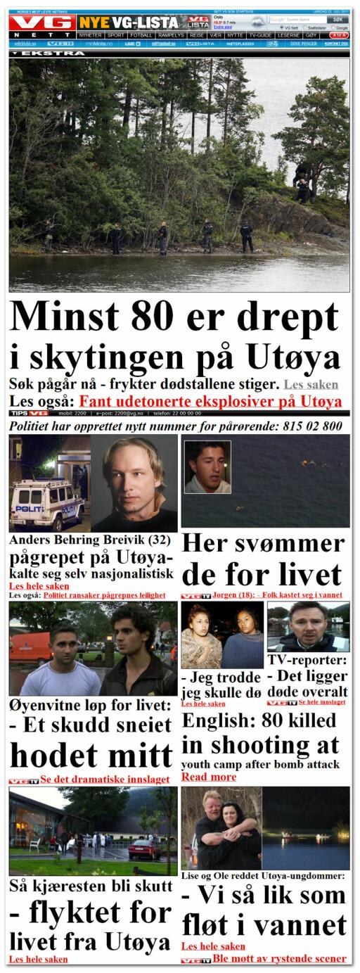 LIGGER LAGRET: Her er forsiden til VG Nett dagen etter 22. juli 2011. Den, og mange andre, ligger lagret hos WayBack Machine.  Foto: OLE PETTER BAUGERØD STOKKE