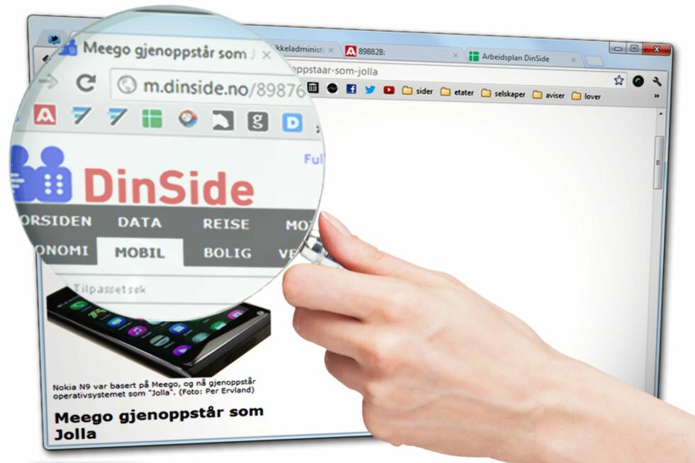 """MOBILVERSJON: Har vennene dine delt en mobilside på Facebook, ender du ofte opp slik: En bitteliten mobilside på din store PC-skjerm. Ser du nøye etter, ser du en """"m."""" som kan fjernes.  Foto: Ole Petter Baugerød Stokke"""