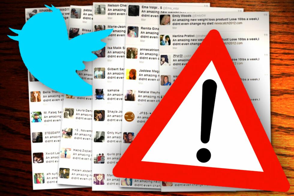 OVERSVØMMES: Twitter-meldinger fra tusenvis av brukere spys ut på nettstedet uten at brukerne vil det. Heldigvis kan de ganske enkelt fjerne Twitter-viruset selv. Foto: Ole Petter Baugerød Stokke