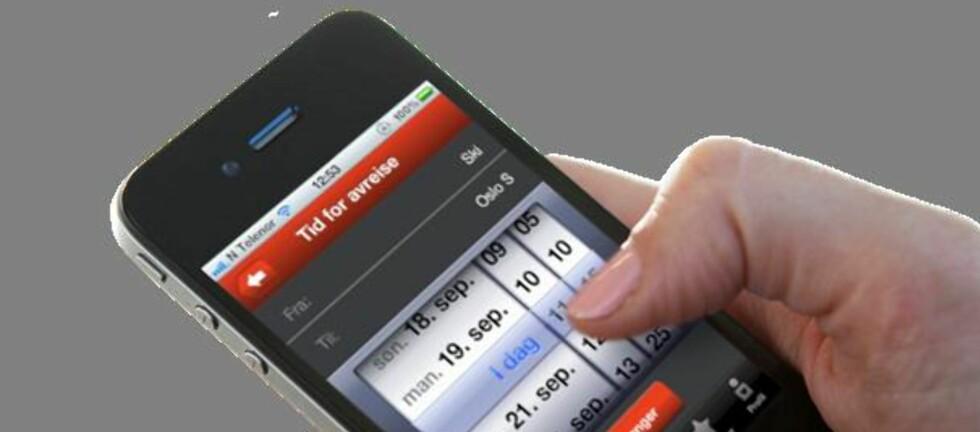 NSB SAMARBEIDER MED RUTER: Foreløpig har ikke Ruter sin egen billett-app. Mens du venter på at den blir laget, kan du kjøpe billettene dine via NSBs app.  Foto: NSB
