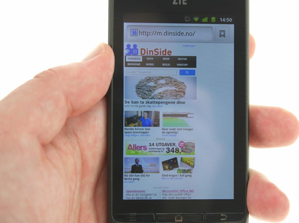 HOPPER OG DANSER LITT: Det er ikke alltid like elegant når Android-nettleseren tegner opp en nettside. Foto: Øivind Idsø