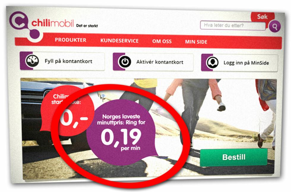 "<strong>""ULOVLIG"":</strong> Forbrukerombudet mener Chili Mobils påstand om ""Norges laveste minuttpris"" ikke er i tråd med markedsføringsloven, og derfor ulovlig. Dermed vil også slagordet forsvinne.  Foto: Ole Petter Baugerød Stokke"