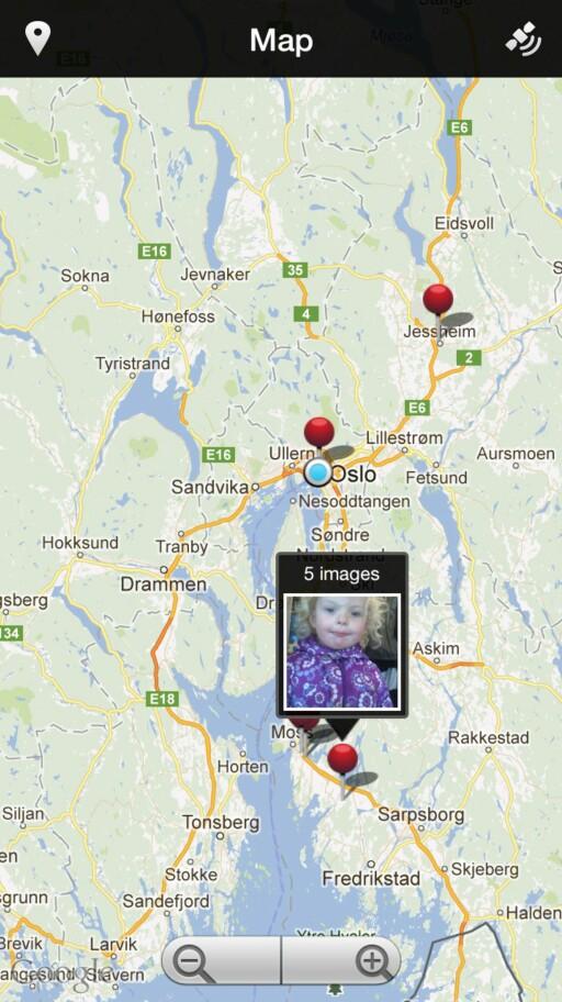 Du kan se bilder du har tatt på et kart for å gjøre det raskere å finne frem bildet du ønsker å se på.