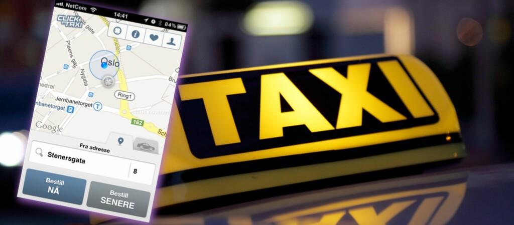Med Click a taxi bestiller du taxi med noen enkle trykk. (Foto: All over press / Montasje: Pål Joakim Olsen)