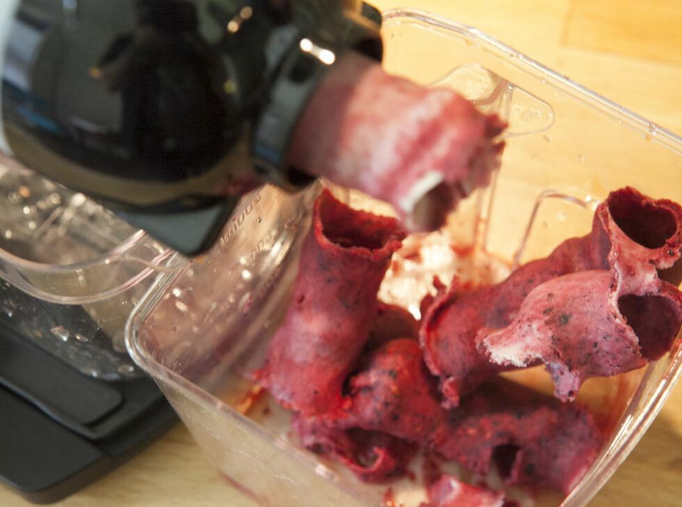 BONUS: Vi elsker sorbeten, som vi lager av frossen smoothiemiks. Foto: Per Ervland