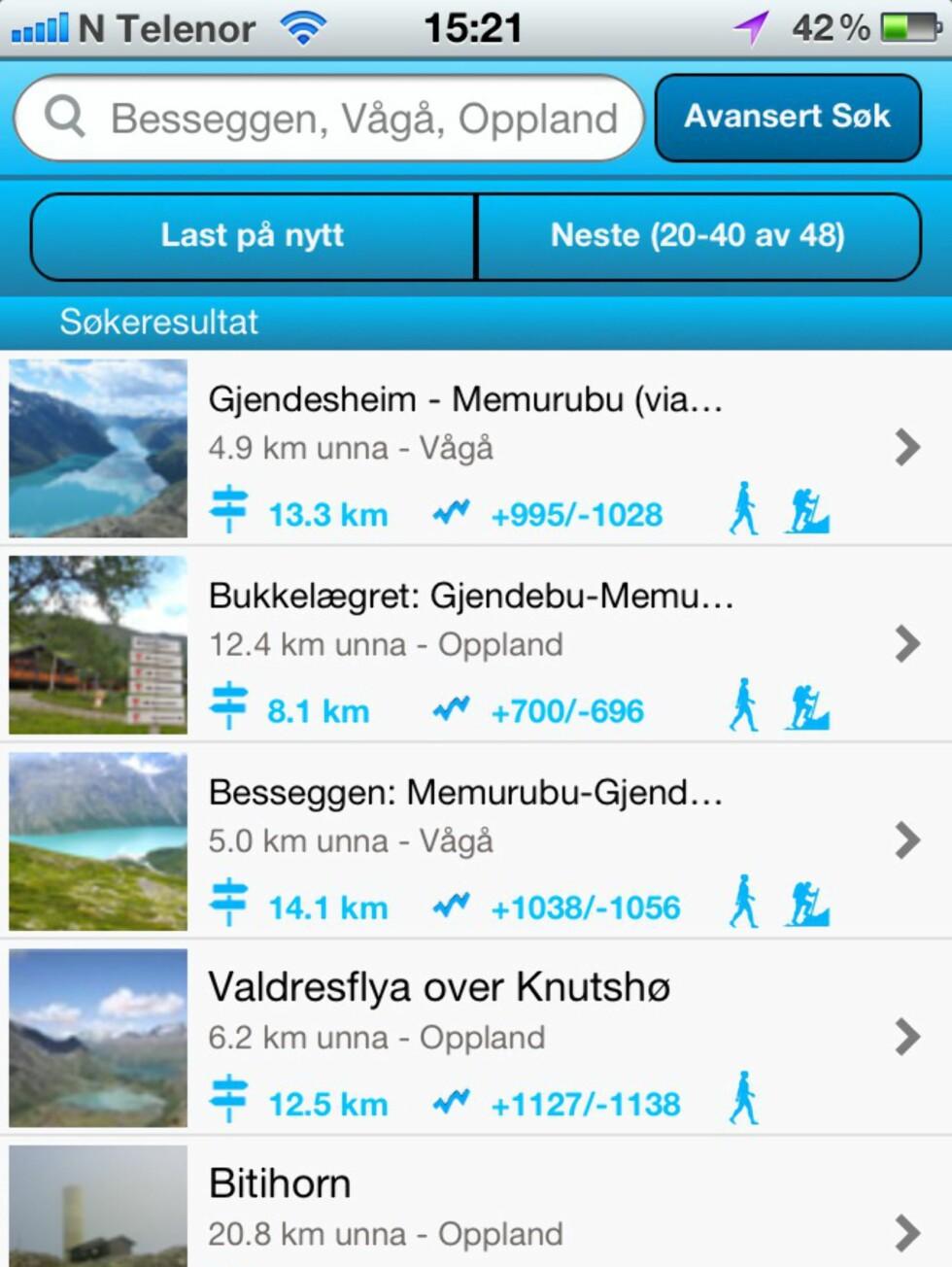Når du har funnet og planlagt en tur kan den så enkelt lastes over til en iPhone – eller du kan søke etter turer i nærheten av der du befinner deg direkte i appen, ifølge en pressemelding.