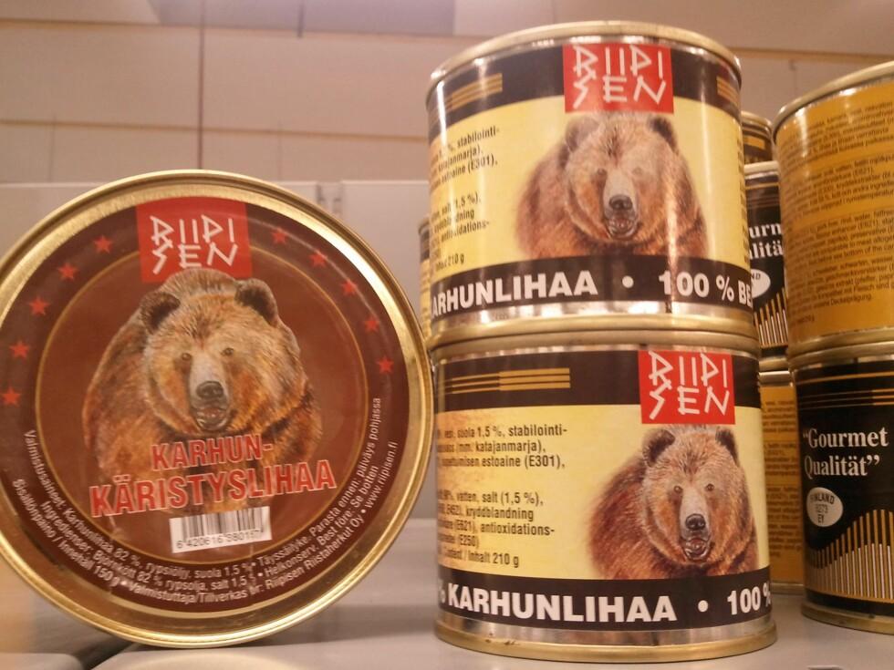 Bjørnekjøtt på boks er muligens en delikatesse, men koster over 1.200 kroner per kilo.          Foto: Berit B. Njarga