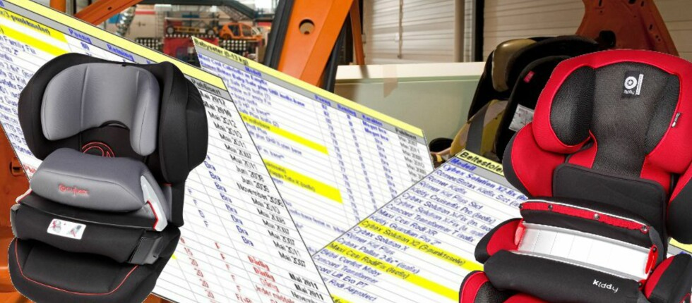 TEST AV BILSTOLER: Europeiske forbrukerorganisasjoner har testet rundt 160 bilstoler til sammen. Vi har samlet alle testresultatene siden 2003. Du kan trygt kjøpe bilstolen til venstre, Cybex Juno-Fix, som får gode testresultater, mens du bør ligge unna stolen til høyre, Kiddy Guardianfix Pro, som får svært dårlige testresultater. Foto: ADAC/Kristin Sørdal