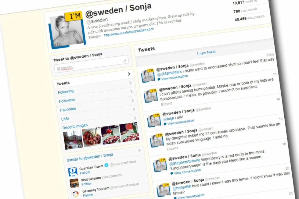 DRØYERE ENN DEN ANDRE: Svenske innbyggere bytter hver uke om å styre Twitter-kontoen til @sweden.