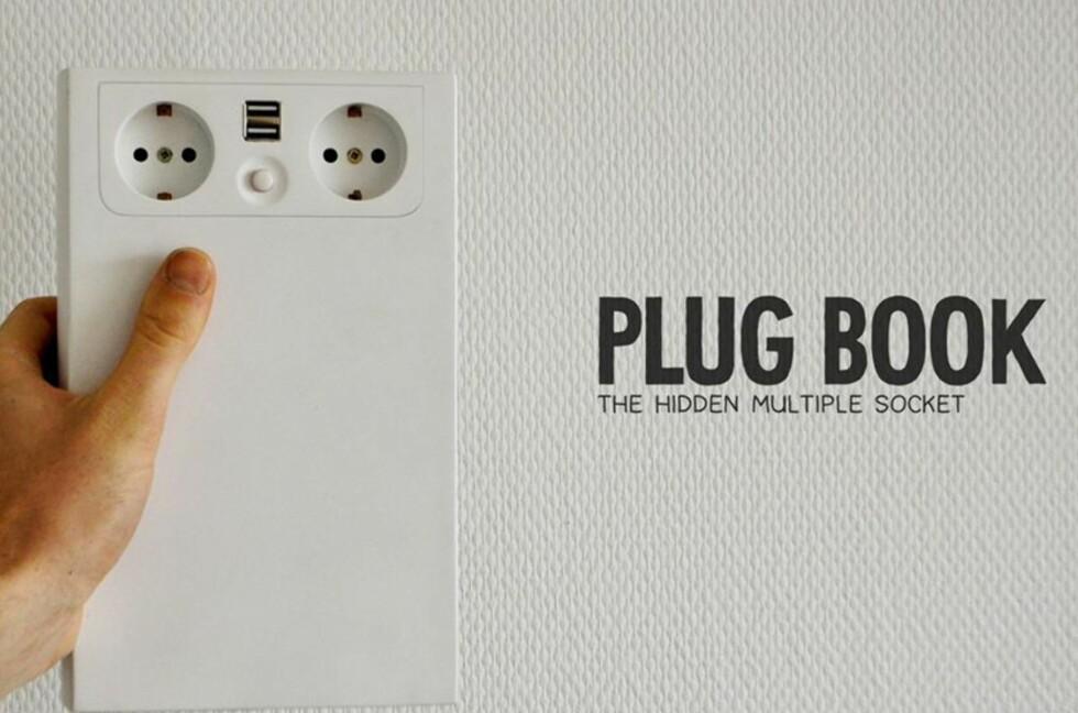 To stikkontakter, to USB-innganger, 3 meter skjøteledning og automatisk ledningsopptrekk. Alt kamuflert i det som ser ut som en bok. Foto: Produsent