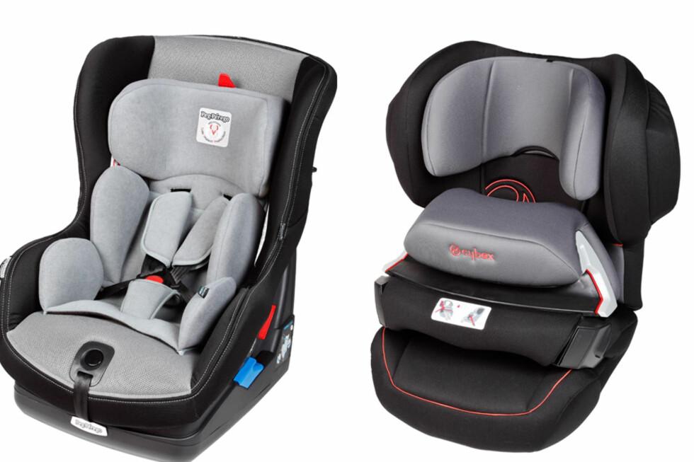 VINNER OG TAPER: Det er ikke det samme hvilken du velger. Bilstolen til høyre (Cybex Juno-Fix) er blant de beste i denne testen av bilstoler, mens du frarådes å kjøpe bilstolen til venstre (Peg Perego Viaggio  Convertible). Foto: ADAC Technikzentrum Landsberg
