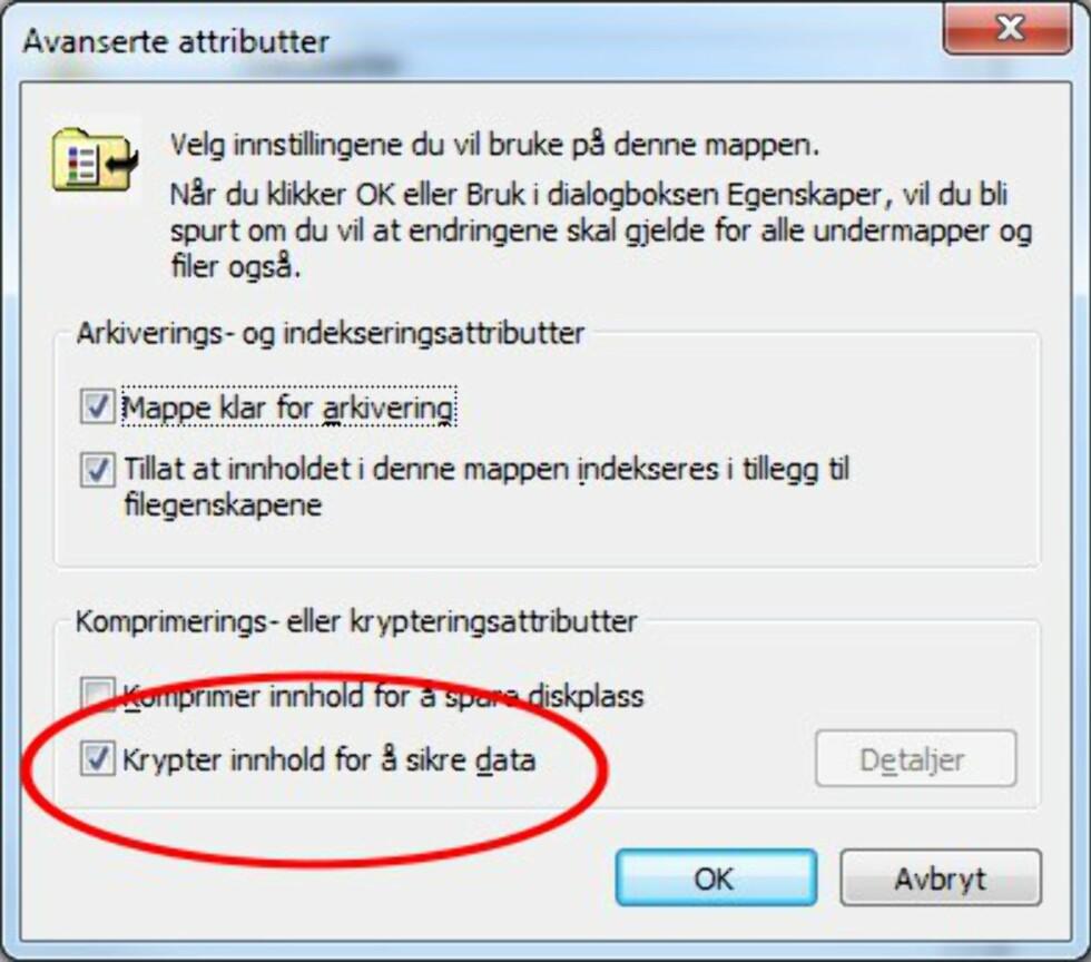 Sikre minnepluggen med EFS