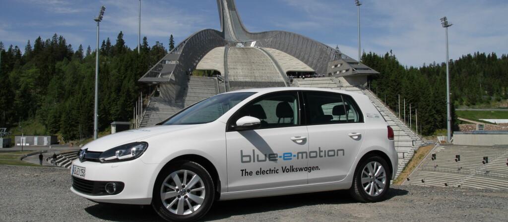 Tre elektriske VW Golf var nylig på Norgesbesøk Foto: Fred Magne Skillebæk