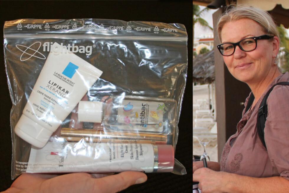 MANGE REGLER: Mai-Britt Sverd er reisejournalist i Hjemmet og kjenner godt til væskereglementet. - Det er fantastisk å oppleve nye reisemål og spennende kulturer. Men selve reiseveien kan være en utfordring med stadig nye meningsløse påbud og regler, sier hun. Bildet til venstre er en illustrasjon, men posen er lik den som deles ut på Gardermoen. Foto: Berit Njarga/Silje Ulveseth