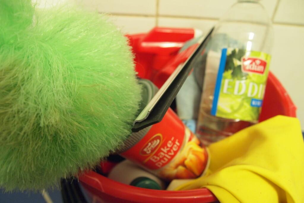 Vårrent med midler fra såvel kjøkkenskap som vaskerom. Foto: Stella Vaage