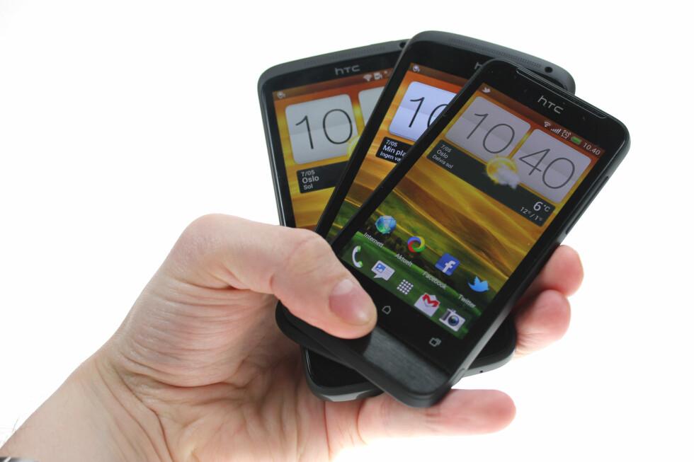 INGEN VINNERTRIO: Vi hadde håpet at alle HTC One-modellene hadde hatt sine styrker og svakheter slik at de ble blant de beste i sine segmenter. Men foreløpig er det bare HTC One X som har fått terningkast fem, mens One S og One V havner på firere.  Foto: Ole Petter Baugerød Stokke