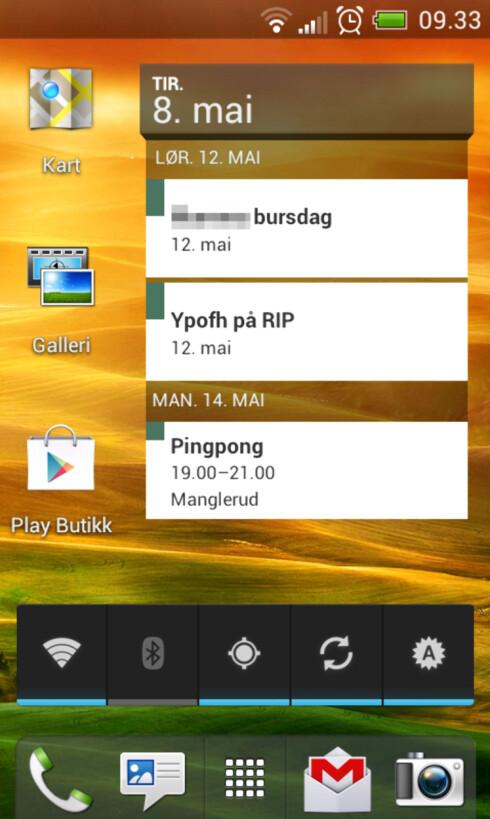 PENT: HTC sitt Sense-grensesnitt sammen med Android 4.0 gjør HTC One V til en pen mobil å bruke.  Foto: Ole Petter Baugerød Stokke