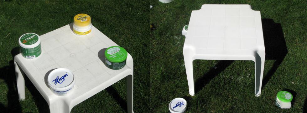 Til venstre bilde av pallen før vask, og til høyre hvordan pallen er blitt etter vask.  Foto: Kristin Sørdal