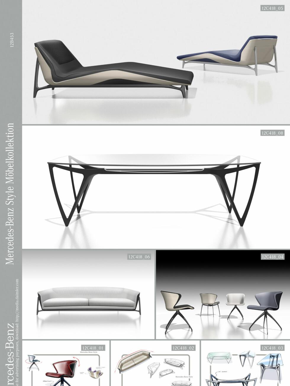 Sjeselong, spisebord, sofa og stoler. Foto: Mercedes-Benz