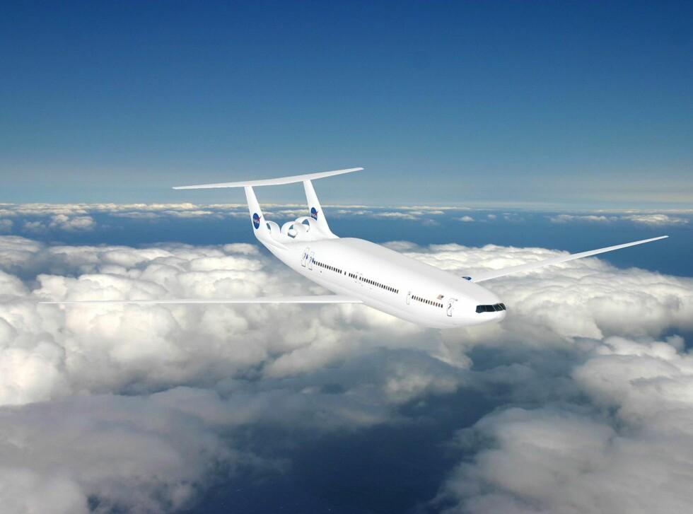 UNDER TESTING: D8, Double Bubble, er under uttesting i regi av NASA. Foreløpige tester viser at den kan bruke 70 prosent mindre drivstoff enn dagens 737. Nå skal dette bevises. Foto: NASA/MIT/Aurora Flight Sciences
