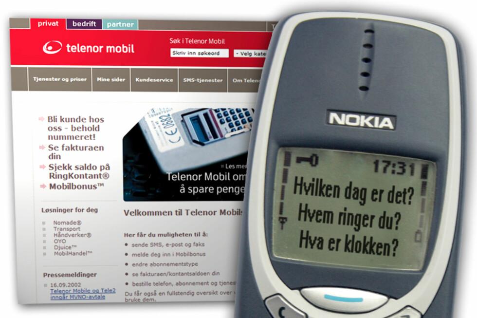 MYE GREIER: Å ringe med mobilen i 2002 kunne være alt fra greit nok til veldig dyrt, alt etter som blant annet når du ringte. Nokia 3310, som kom først i 2000, var manges favoritt også da, og ble først utgitt i USA som Nokia 3360 i 2002. I bakgrunnen ser du Telenors nettsider slik de så ut samme år.
