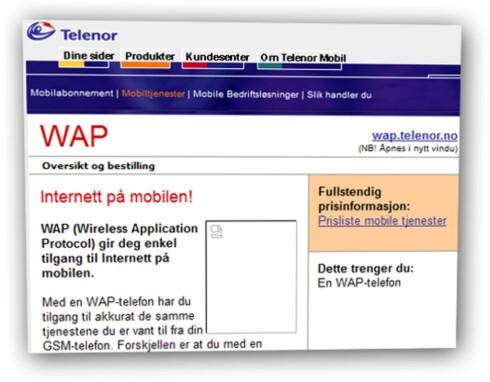 """OVERSOLGT: Telenor innrømmer at de lovet mer enn de kunne holde. Her ser du hvordan Telenor kalte WAP """"Internett på mobilen!"""" på sine nettsider i år 2000.  Foto: web.archive.org"""