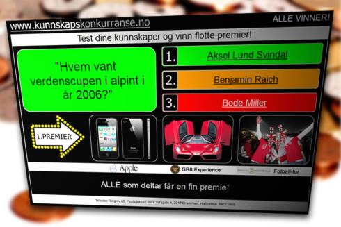 """""""KONKURRANSE"""": Mange SMS-tjenetser markedsfører seg som kunnskapskonkurranser, ala denne, som vi har skrevet om tidligere. Men i realiteten binder de seg til dyre SMS-tjenester.  Foto: Ole Petter Baugerød Stokke"""