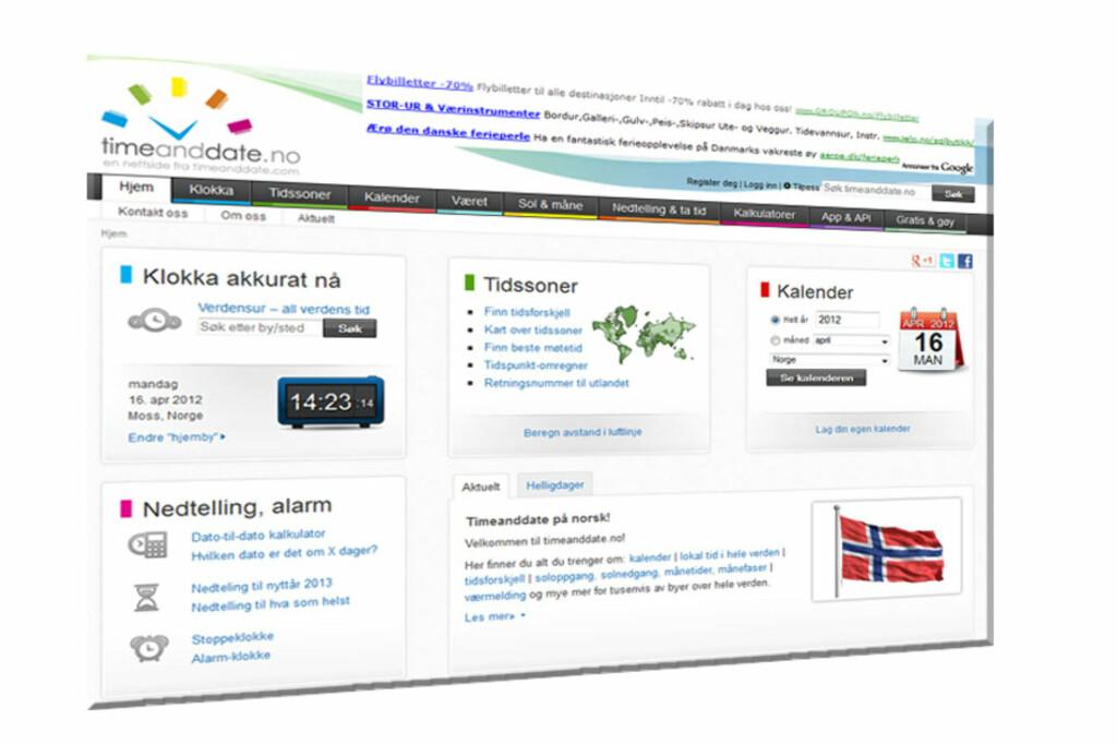 Slik ser den norske utgaven av timeanddate.no ut.