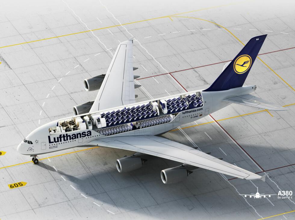 Slik ser flyet ut innvendig. Foran på øvre dekk er førsteklasse, så kommer businessklasse. Nedre dekk er forbeholdt økonomiklasse. Foto: Lufthansa