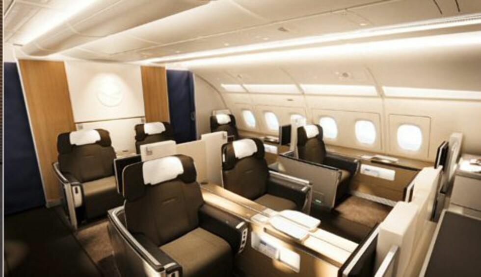 Flyet har bare åtte førsteklasseseter.  Foto: Lufthansa