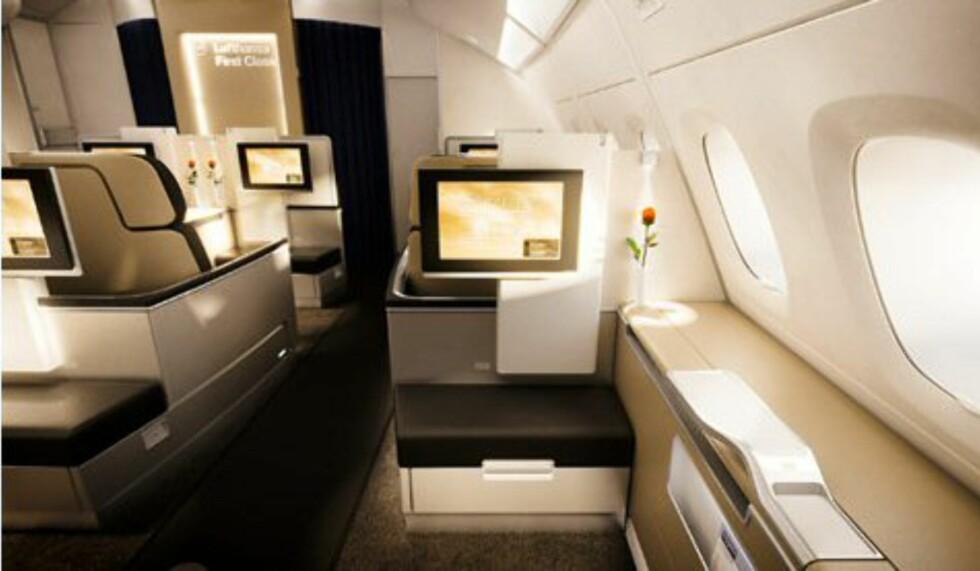 Slik er utsikten fra setet. Foto: Lufthansa