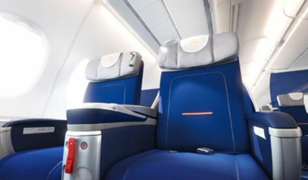 Bredere seter på businessklasse enn økonomiklasse. Foto: Lufthansa