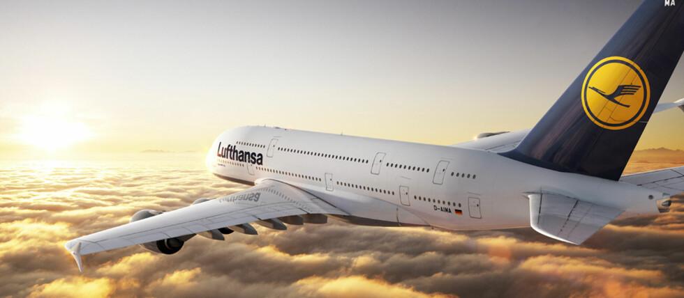Lufthansas versjon av A380 har åtte førsteklasseseter, 98 businessklassepassasjerer og 420 økonomiklassepassasjerer - altså 526 tilsammen. Foto: Lufthansa